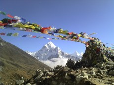 Pray flags with Ama Dablam in the back ground, Nepal