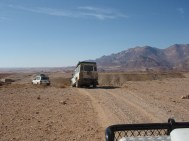 The Born Survivor Crew traveling to the next venue in Brandberg Mountains of Namibia