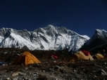 Camping below the huge South face of lhotse, Nepal